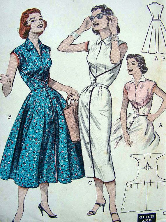 c737dcd2c1 1950s Vintage Sewing Pattern - Butterick 6836 - QUICK   EASY - Wrap-Around…