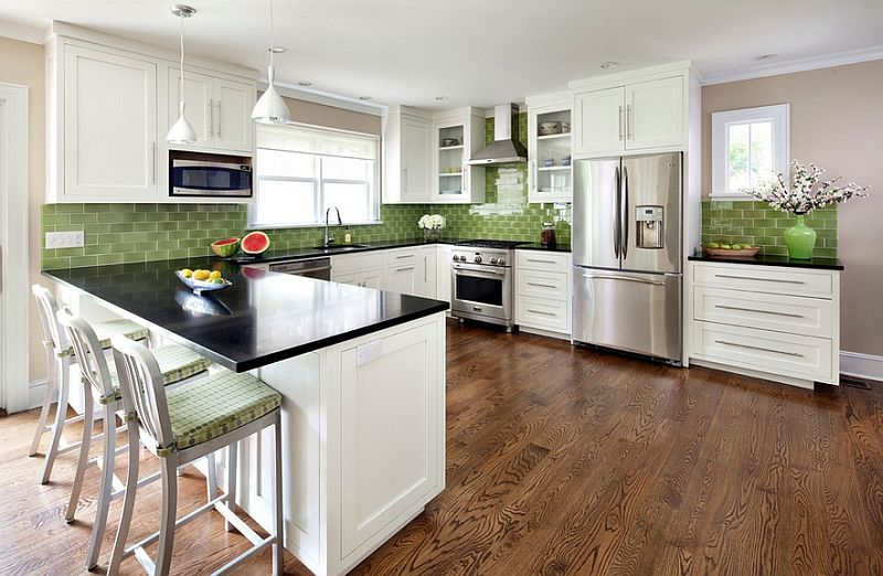 white and green kitchen ideas