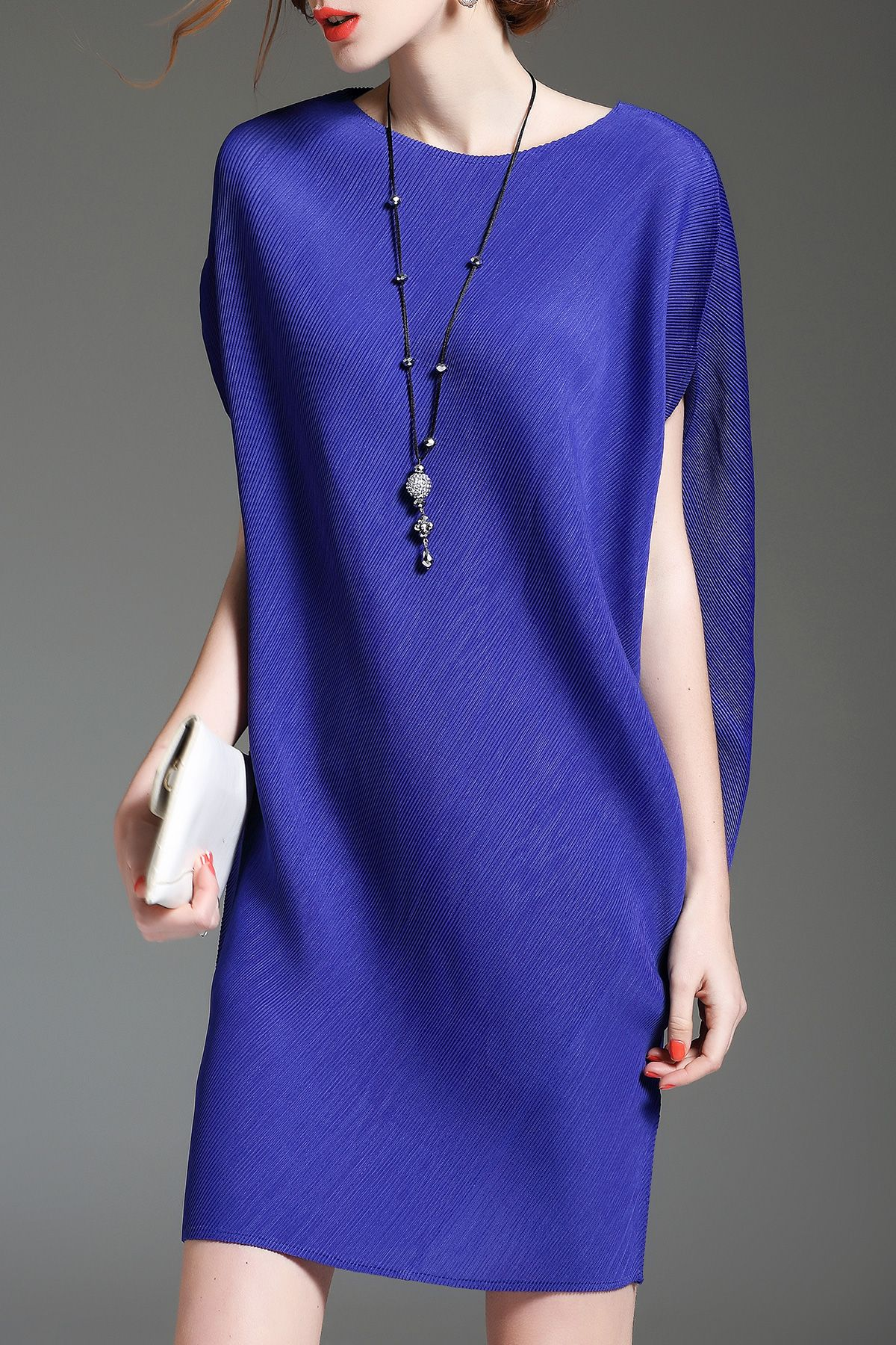 Batwing Sleeve Mini Shift Dress - BLUE ONE SIZE(FIT SIZE XS TO M ...