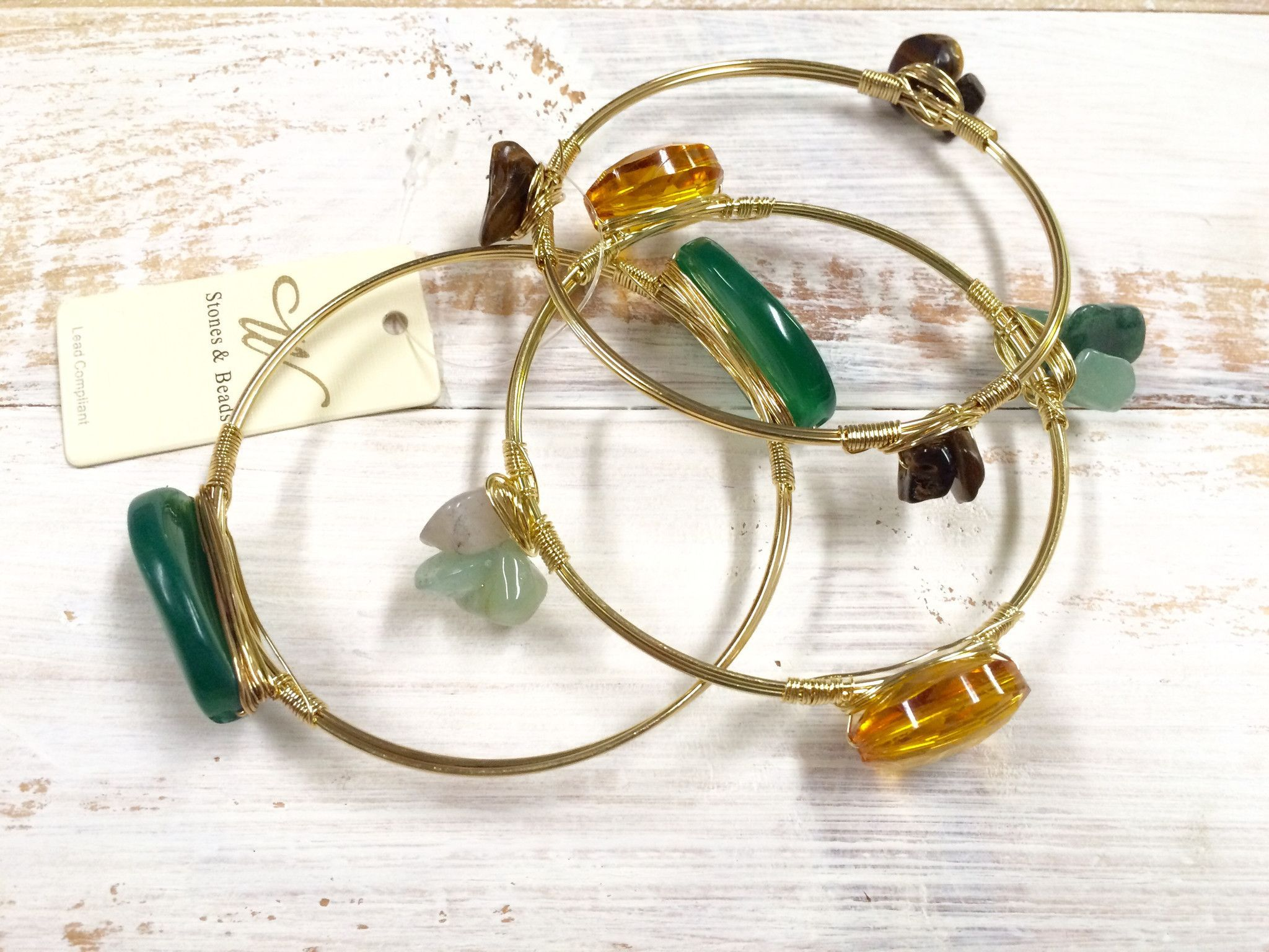 3 Piece Green Stone and Amber Crystal Bead Goldtone Wired Bangle Set