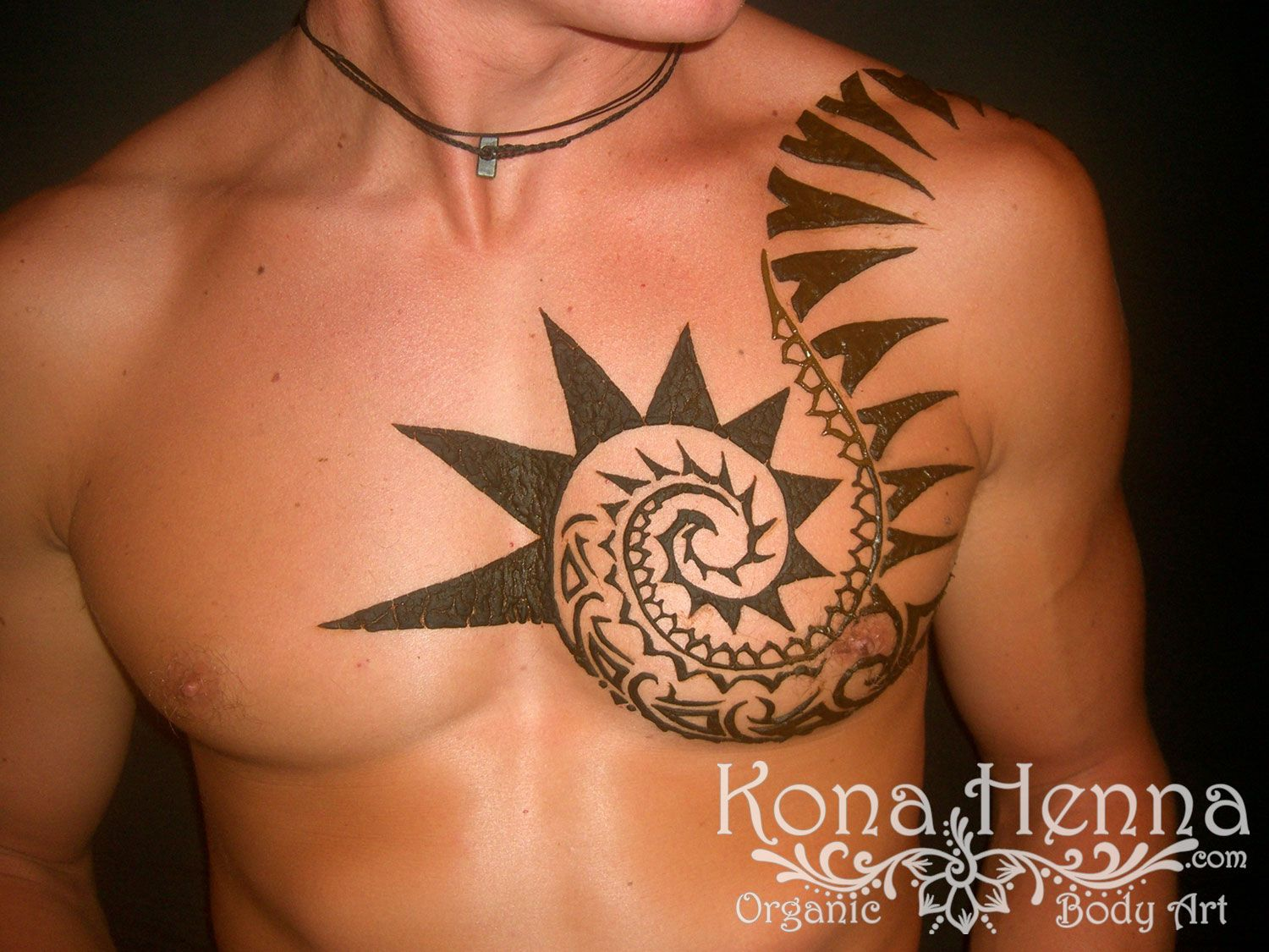 Mehndi Tattoo Images For Boy : Henna gallery tribal chest piece on danny boy by kona
