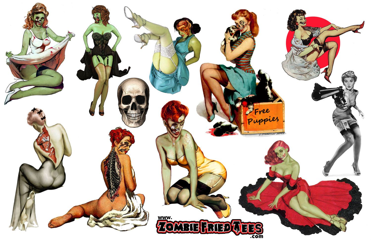 mens pin up stickers vintage zombie pinups zombiez pinterest tattoo. Black Bedroom Furniture Sets. Home Design Ideas