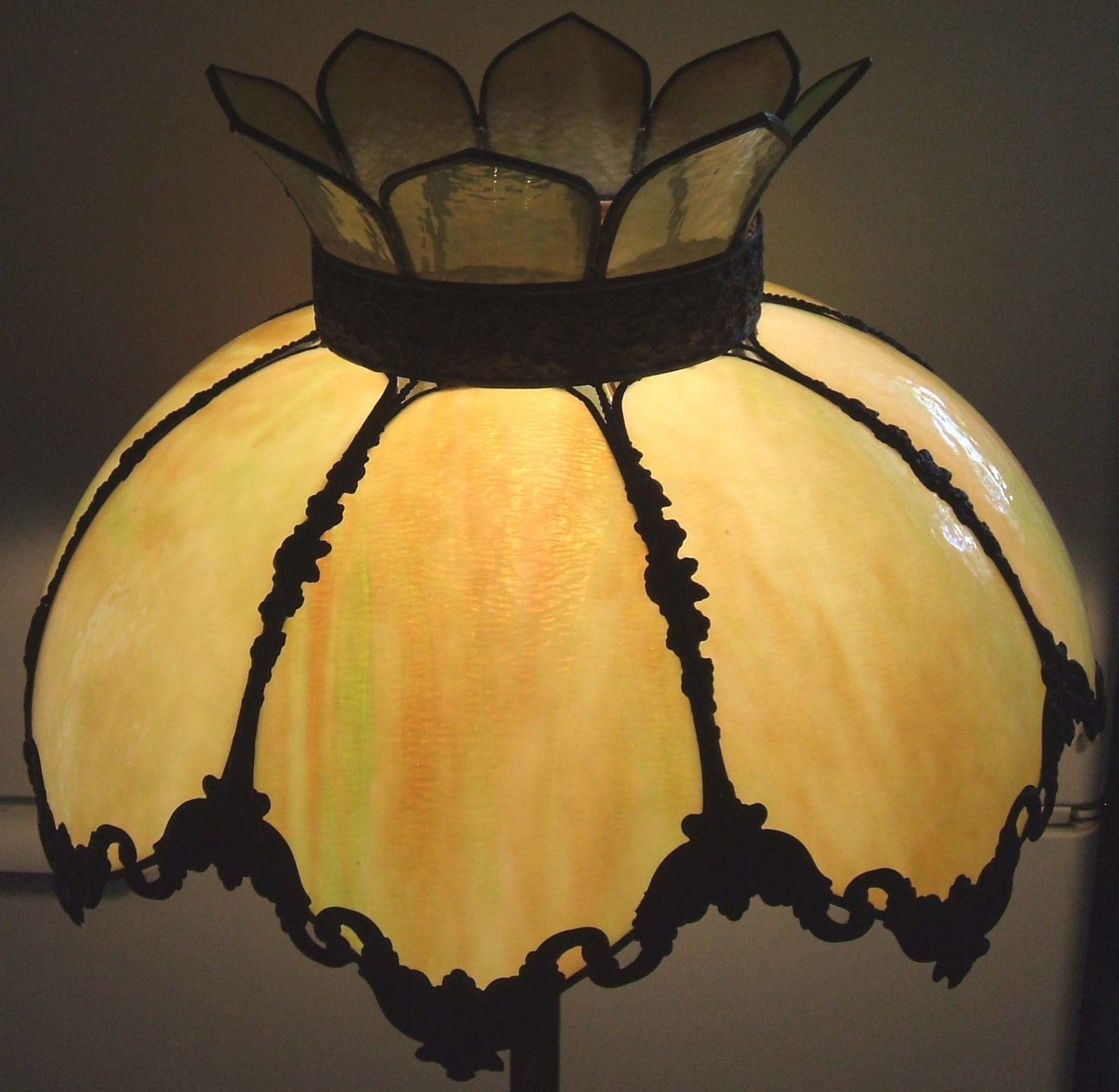 Rare Large Antique Victorian Stained Slag Glass Hall Ceiling Light