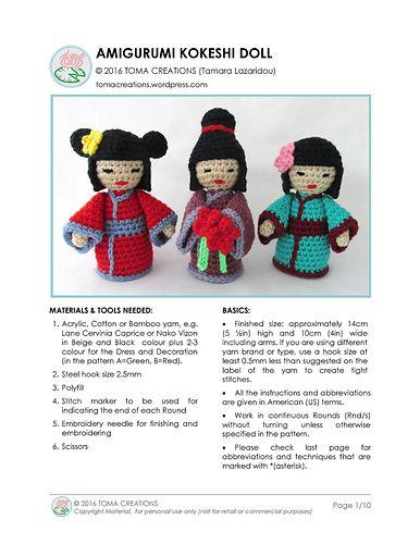 Amigurumi Kokeshi Dolls Free Crochet Pattern | 500x386
