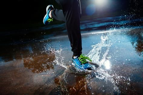 size: 24x16in Photographic Print: Single Runner Running in Rain by I T A L O :