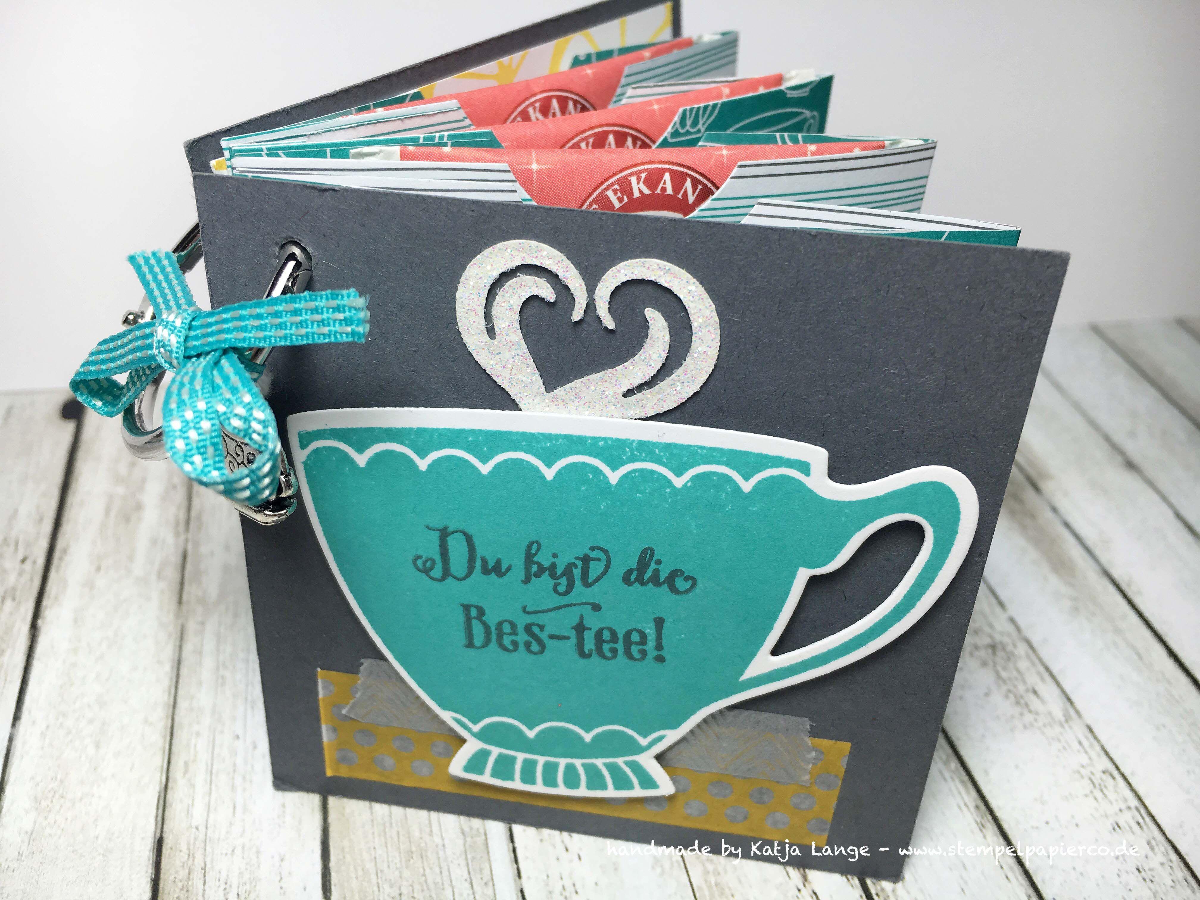 Teebeutelbüchlein mit dem Designerpapier 'Noch ein Tässchen' – Stempel, Papier & Co.
