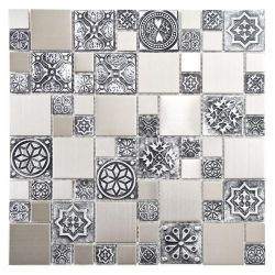 Merola Tile Meta Versailles 11 3 4 In X 11 3 4 In Stainless Steel Over Porcelain Mosaic Wall Tile Mosaicos Decoracion De Unas Azulejos