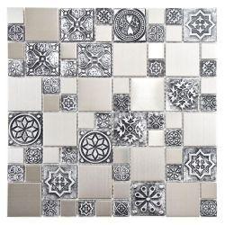 Merola Tile Meta Versailles 11 3 4 In X 11 3 4 In Stainless Steel Over Porcelain Mosaic Wall Tile Mosaicos Decoracion De Unas Azulejos