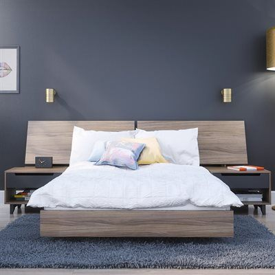 Nexera Walnut 76 In X 55 25 In Full Size Platform Bed Bedroom