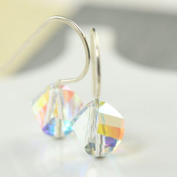 April Birthstone Diamond Swarovski crystal earrings | Full ...