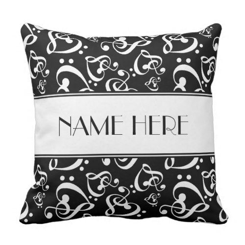Black and White Music Hearts Customized Throw Pillow. >>> See even more at the image link