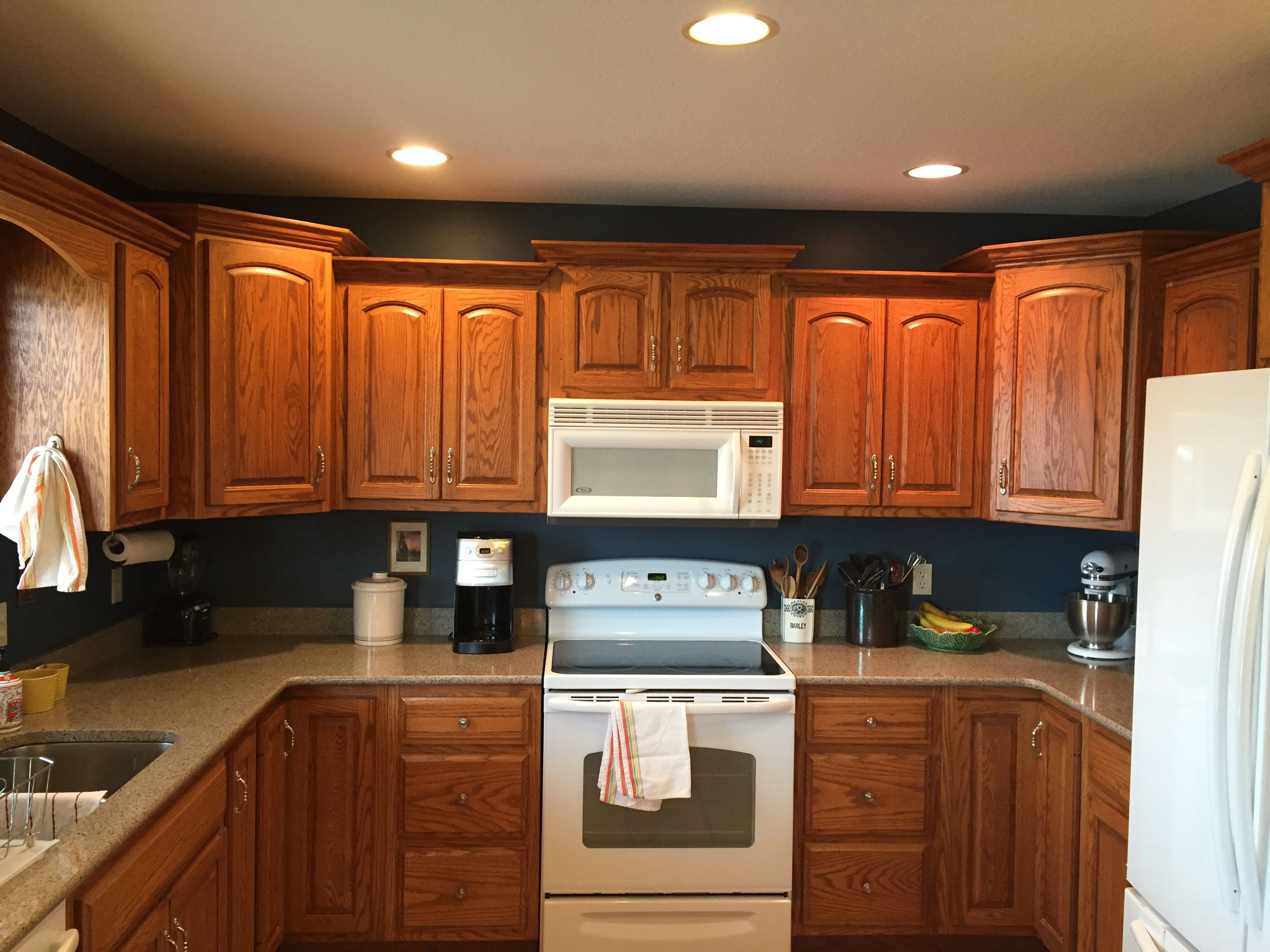 Navy Walls Honey Oak Cabinets Behr Shipwreck Home Depot Navy Kitchen Walls Honey Oak Cabinets Oak Kitchen
