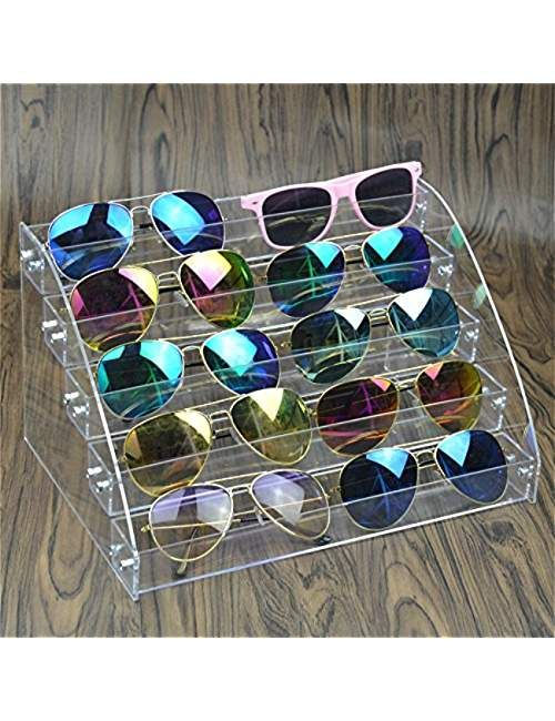 c477f7264904 10 Piece Acrylic Sunglasses Organizer Clear Eyeglasses Display Case 5 Tier Eyewear  Storage Tray Box For Glasses Tabletop Holder Stand