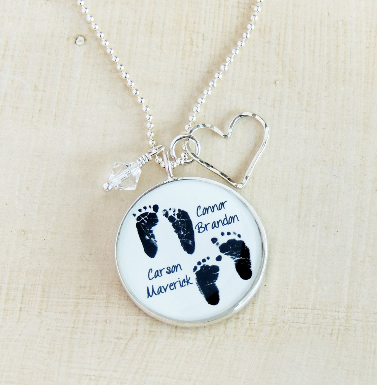 Mom Necklace - Baby Footprint Necklace - Twins - Child\'s ...