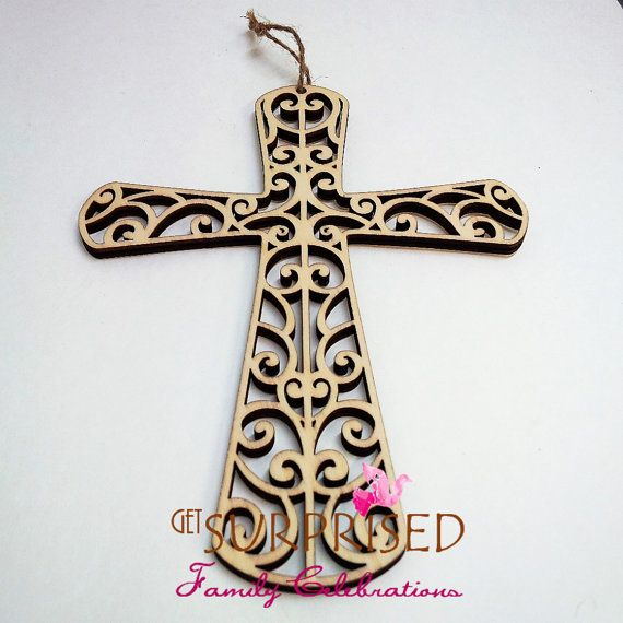 FILIGRANE HANGING CROSS Laser cut wooden by GetSurprised on Etsy