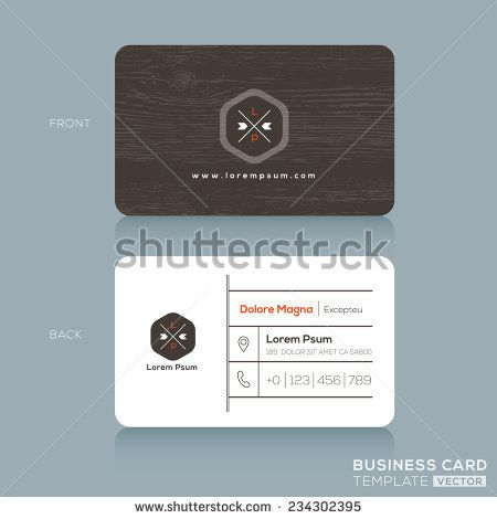 Modern Business Card Design Template With Dark Wood Background
