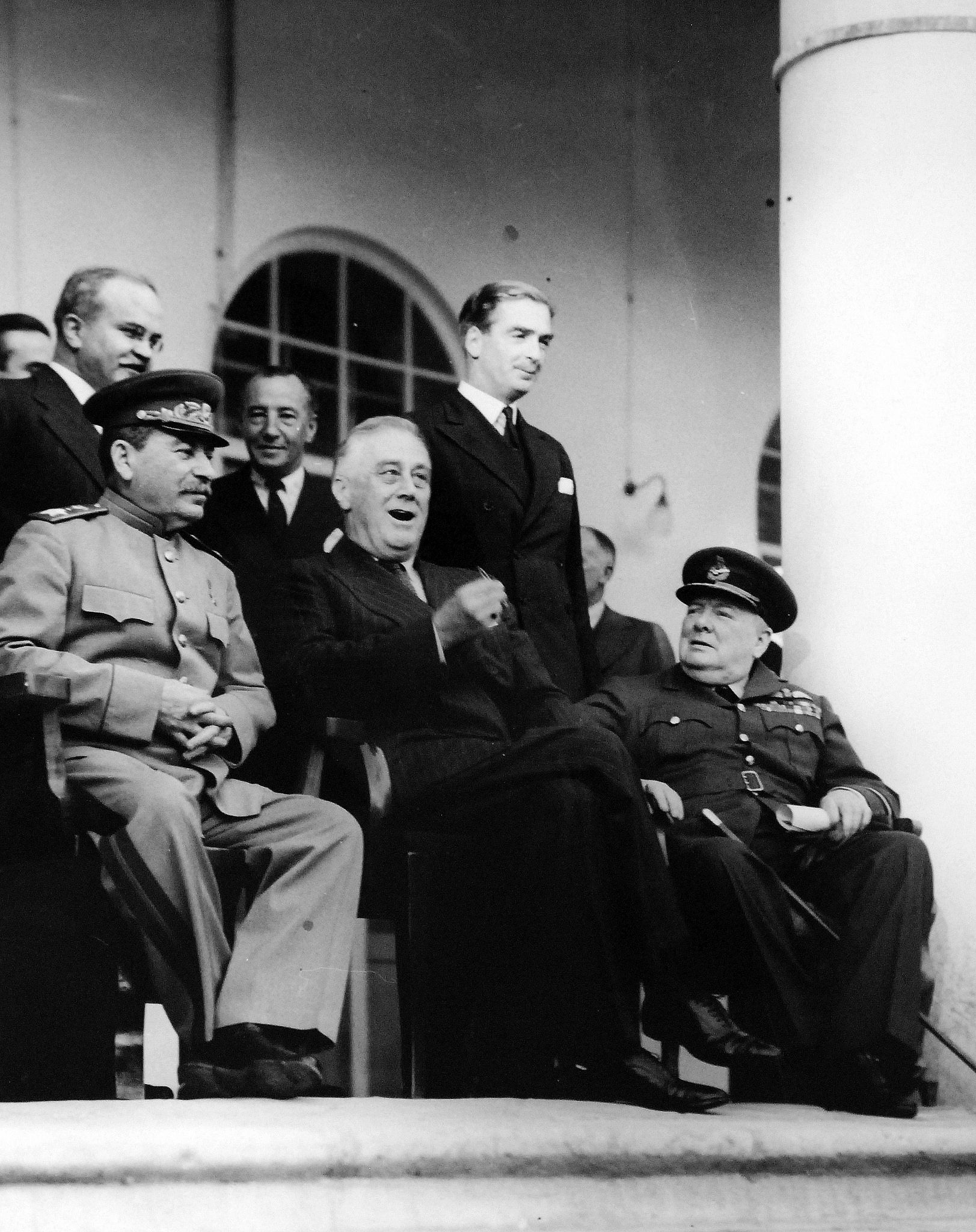 """Lot 11597-5: Tehran Conference, November 28-December 1, 1943. The strategy meeting of Premier Joseph Stalin, President Franklin D. Roosevelt, and Prime Minister Winston Churchill at the Russian Embassy at Tehran, Iran. This conference was the first of """"Big Three"""" leaders (Soviet Union, United States and United Kingdom). Note, V. M. Molotov, Peoples' Commissar for Foreign Affairs, to Stalin's behind right. Originally an U.S. Army photograph. Office of War Information Photograph"""