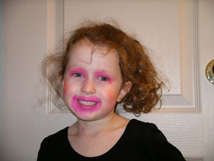 Little me got into mommys makeup.