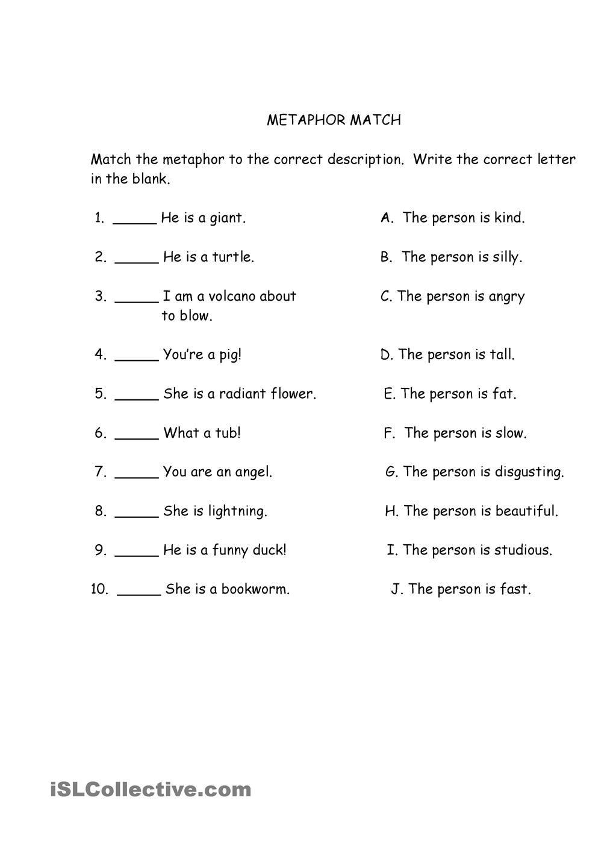Metaphor Match Similes And Metaphors Figurative Language Worksheet Metaphor Activities