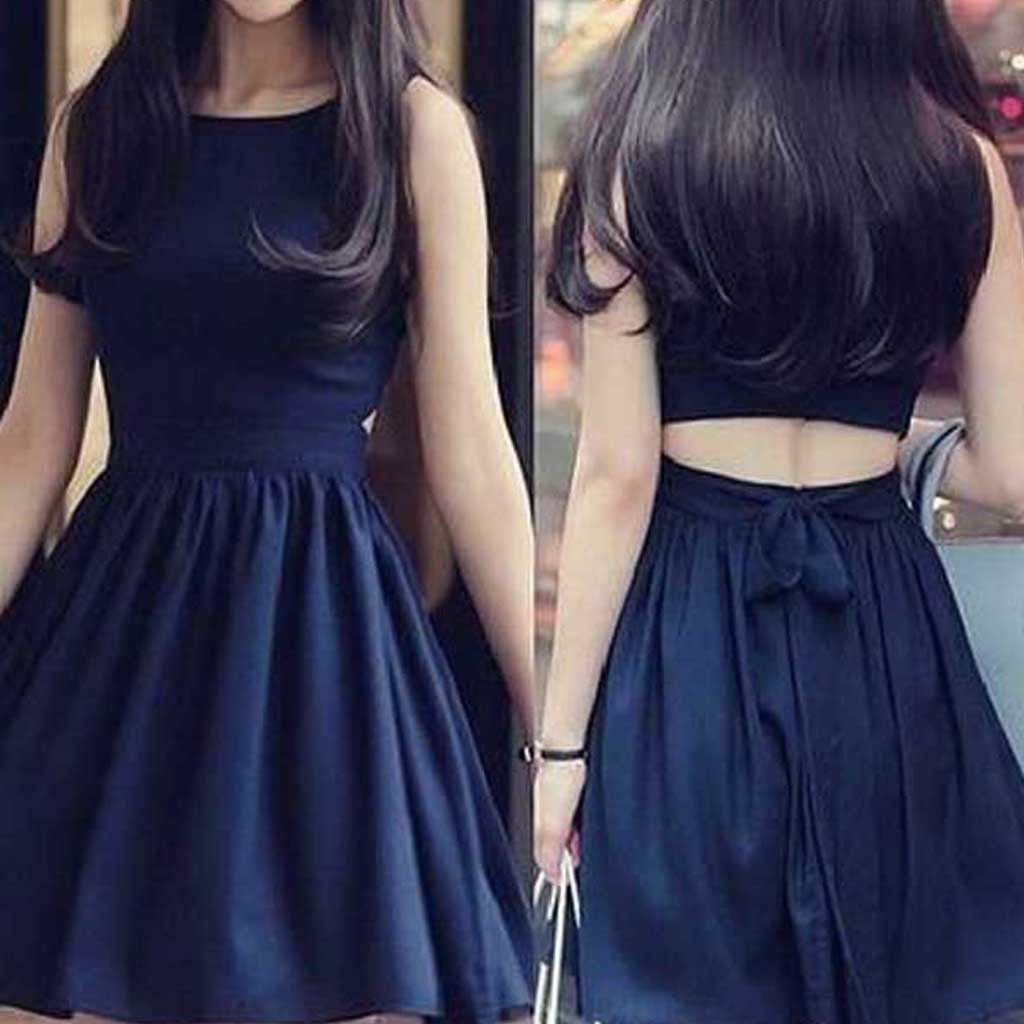 Short black two pieces unique simple tight popular teens homecoming