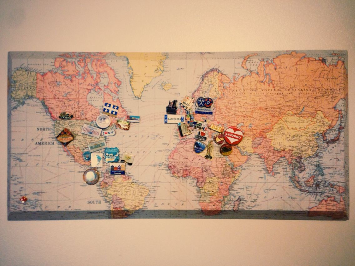 I Collect Lapel Pins When I Travel I Found This Map Paper At A Nearby Paper Store And Picked Up T Pin Collection Displays World Map With Pins Travel Keepsakes