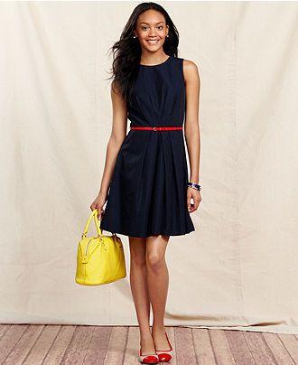 f3bfb036b03 Tommy Hilfiger Dress, Sleeveless Belted A-Line - Dresses - Women - Macy's