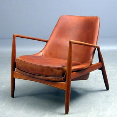 Danish Leather Chair With Teakwood.
