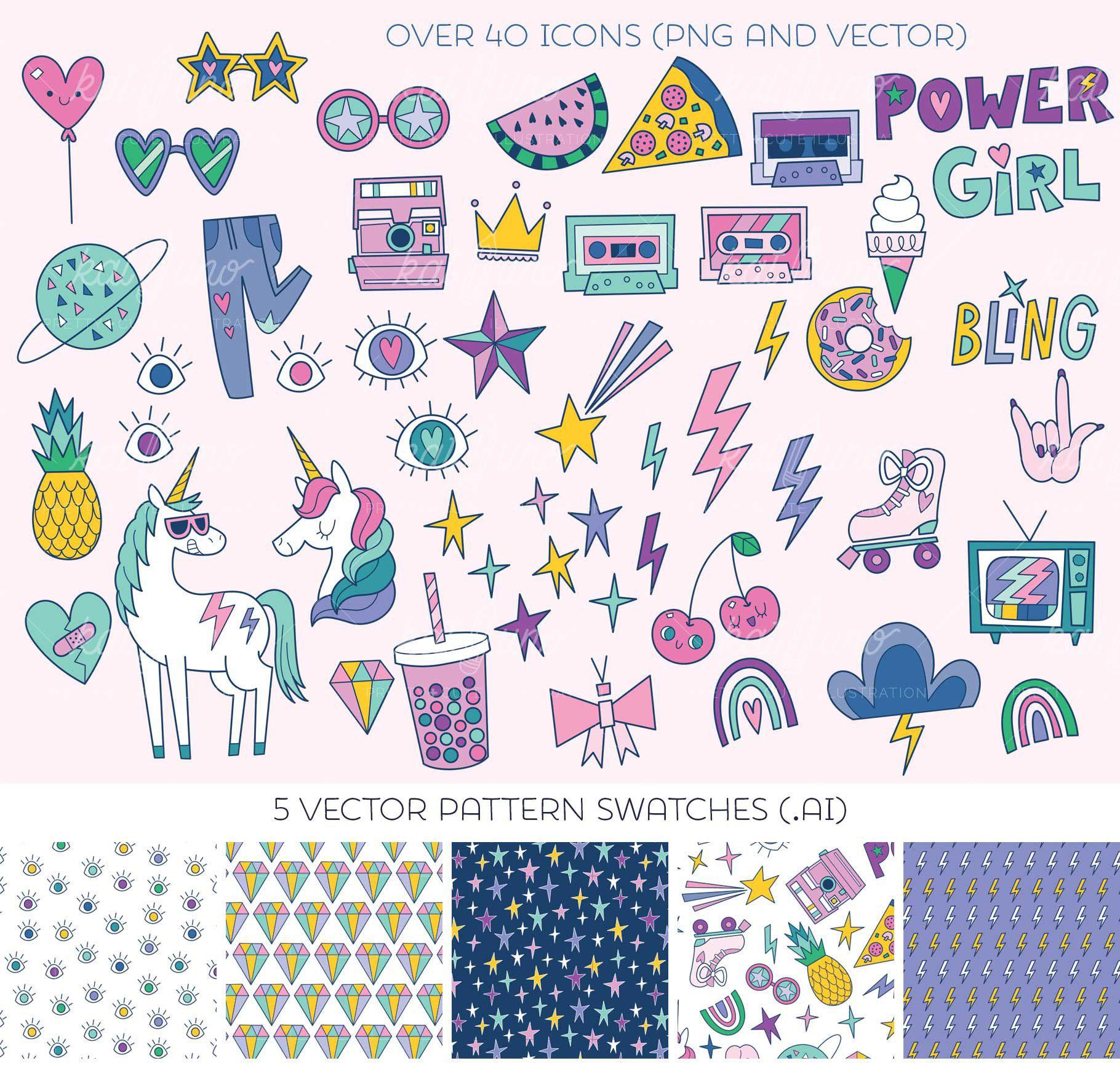 Cute pop artwork feminine clipart diy printable digital