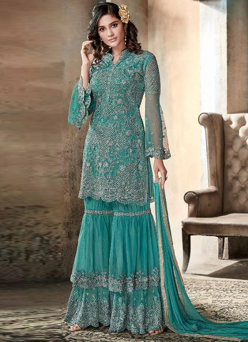 f3331e95e38fa4 Turquoise Heavy Net Embroidered Palazzo Suit | Salwar Suits ...