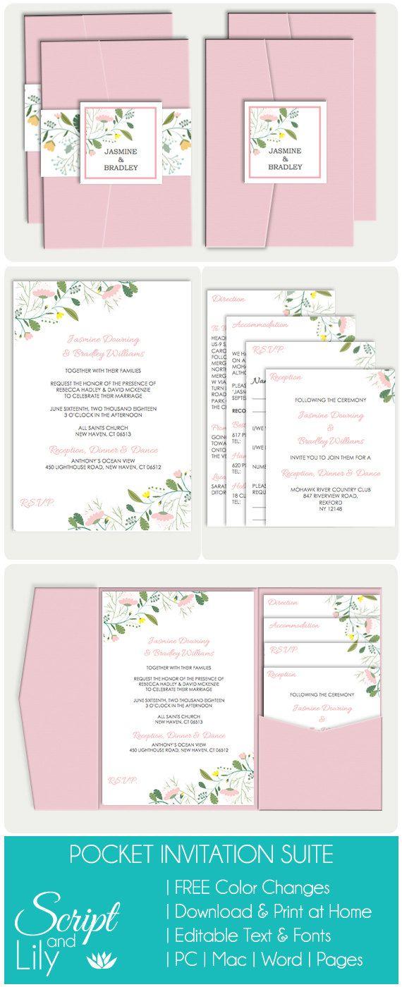 25% OFF Printable Wedding Pocket Fold Template by ScriptAndLily ...