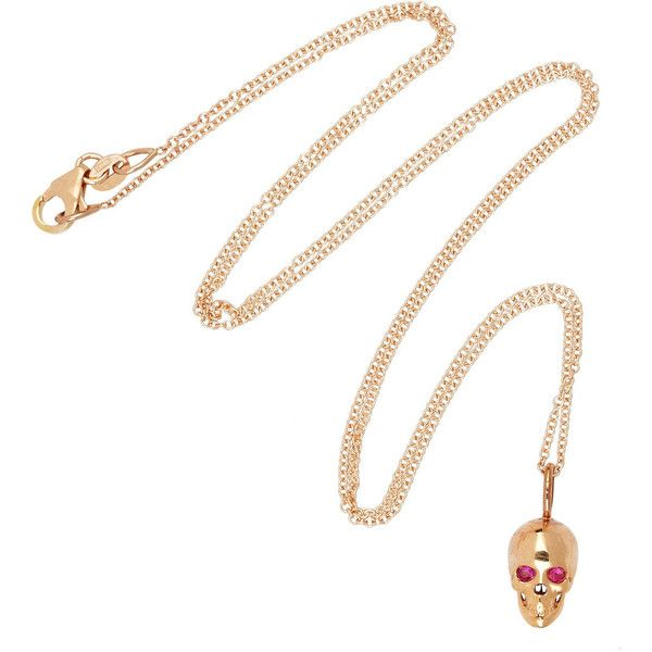 Rose gold & ruby skull necklace