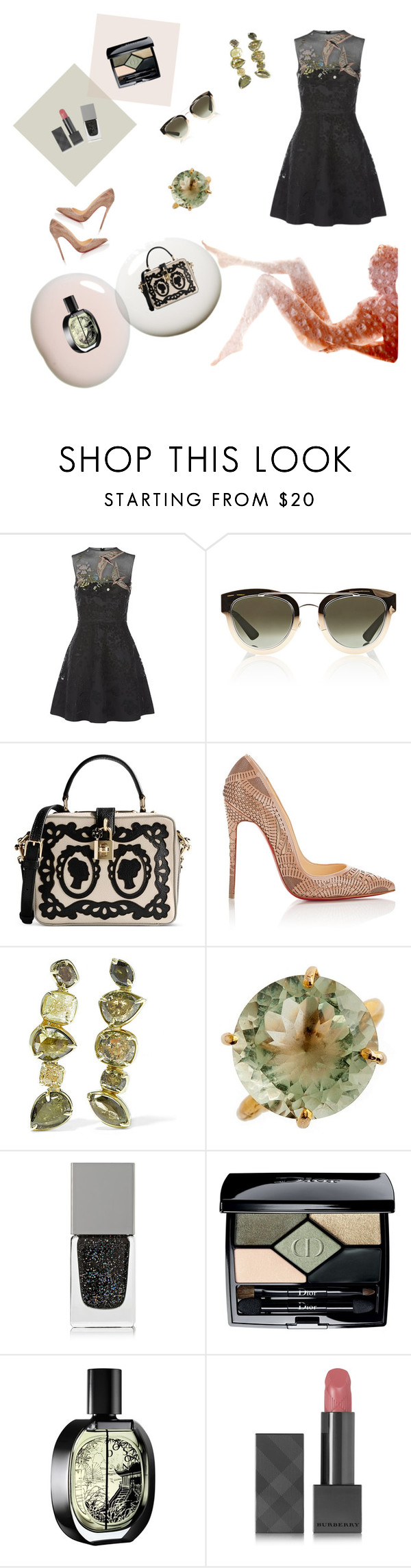 """Untitled #22"" by solmazz ❤ liked on Polyvore featuring Valentino, Christian Dior, Dolce&Gabbana, Christian Louboutin, Kimberly McDonald, By Emily, Givenchy, Diptyque and Burberry"