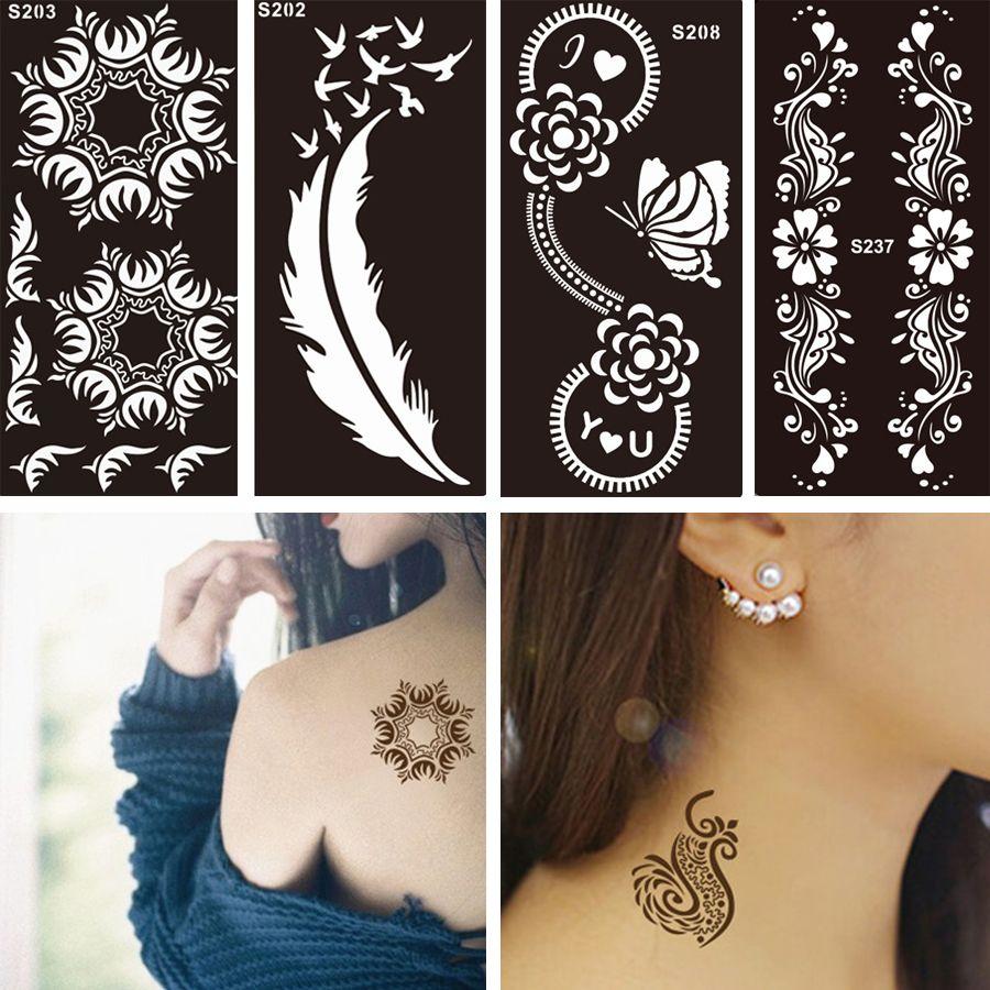1 Pc Disposable Black Fake Henna Indian Arabic Stencil Tattoo Lace Wedding Women Body Art Paint Tattoo Henna Stencils Henna Tattoo Designs Small Henna Tattoos