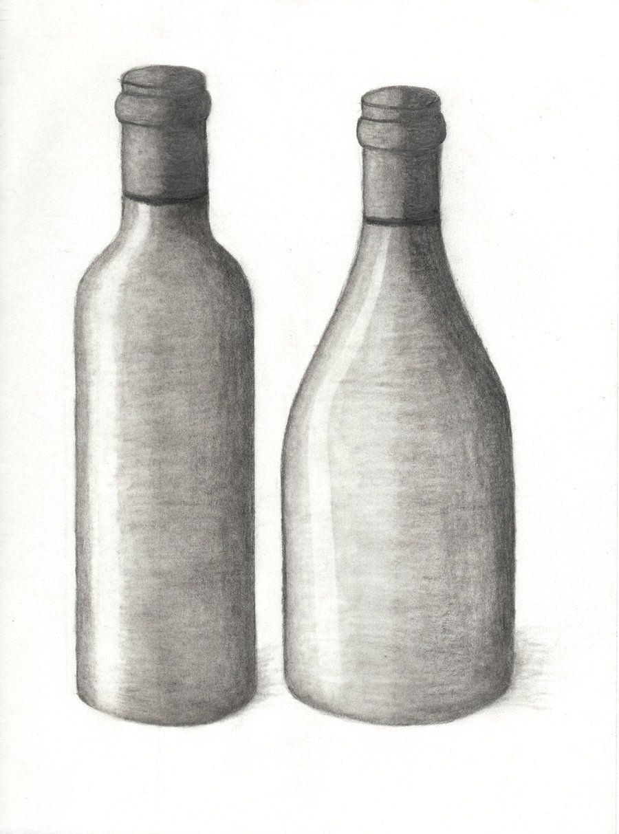 drawing 101 wine bottle 2 by xycolsen traditional art drawings still