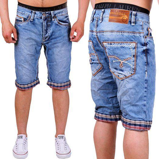 Shorts Stonewashed Naht Orange Herren Bermuda Dicke Jeans kZPuXi