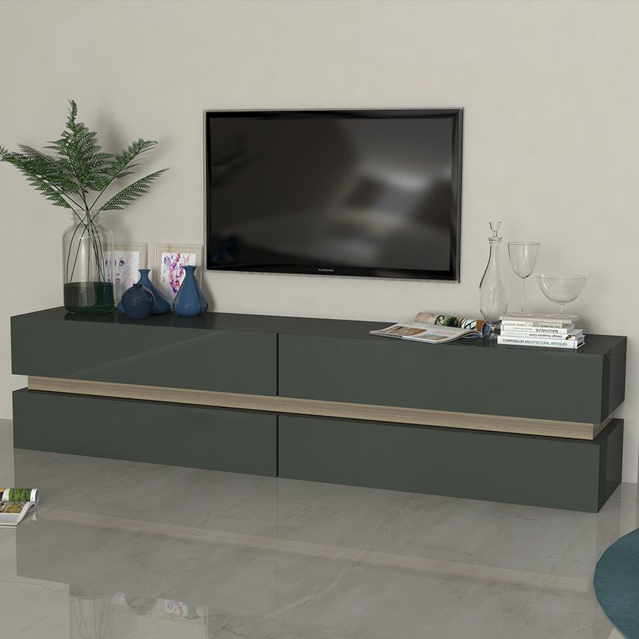 meuble tv gris laque brillant et