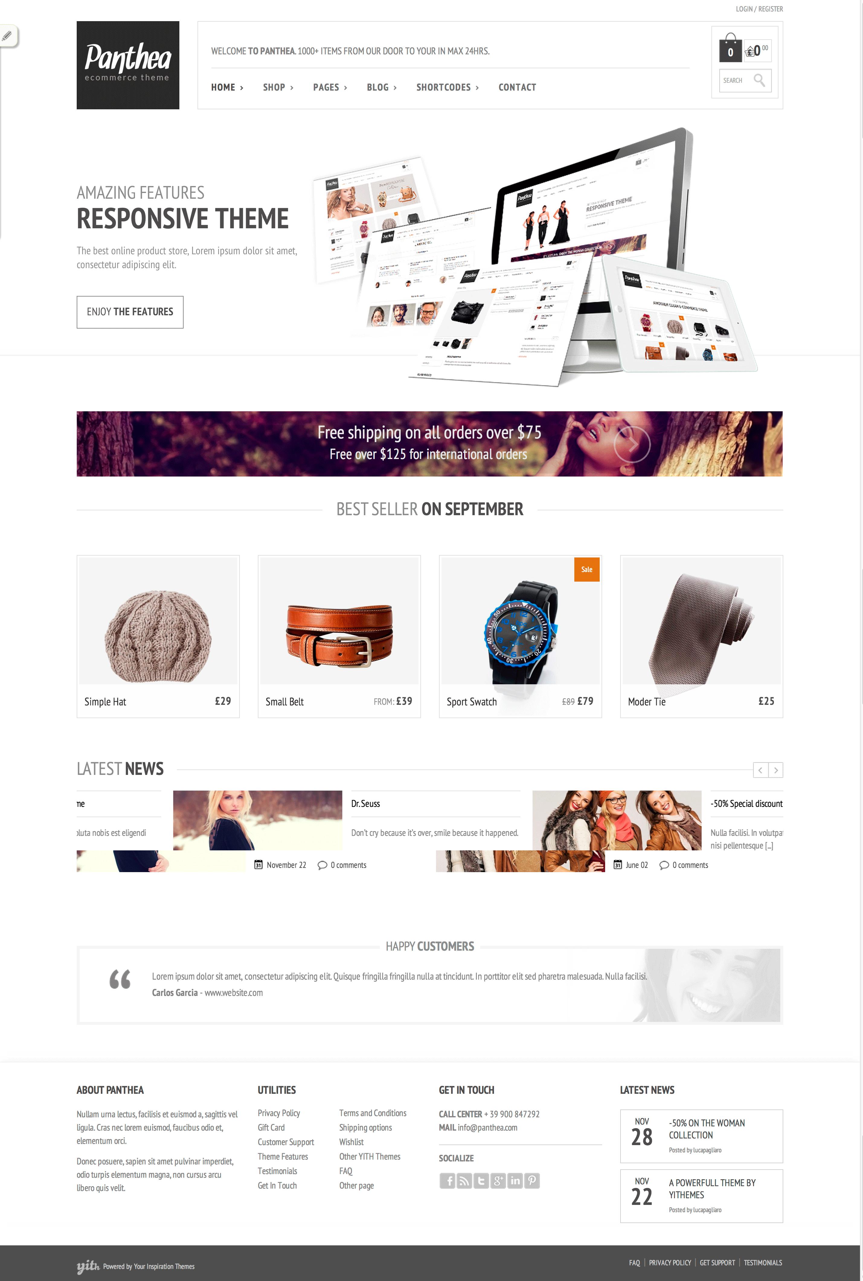 Panthea Ecommerce Wordpress Theme Free   Wordpress themes   Pinterest