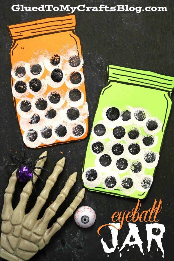 Stamped Eyeball Jar  Halloween Kid Craft is part of Kids Crafts Halloween Hand Prints - No NEED to be spooked by our latest Eyeball Jar  Halloween kid craft tutorial! It's an idea that can come together within several  nonfrightful  minutes!