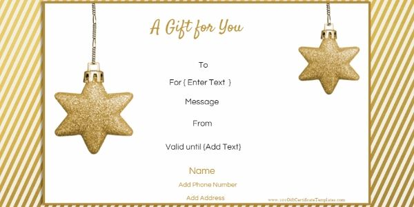 Christmas Gift Certificate Templates Stuff to Buy Pinterest - Free Printable Gift Certificate Template