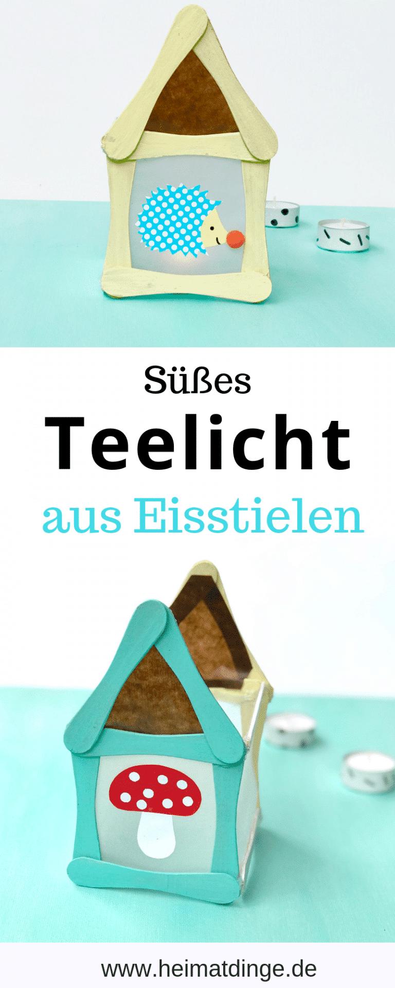 Windlicht mit Kindern basteln: Teelicht Häuschen aus Eisstielen - #laternebastelnkinder