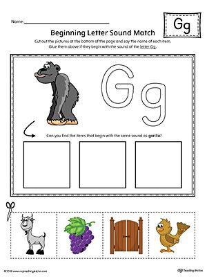 letter g beginning sound picture match worksheet color. Black Bedroom Furniture Sets. Home Design Ideas