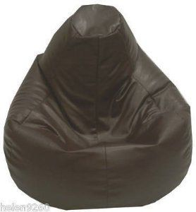 Bean Bag Cover In Brown Faux Leather Xl Recliner Beanbag