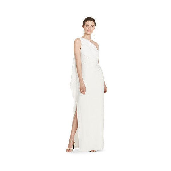 854214ace0 Ralph Lauren Lauren One-Shoulder Cape Gown ( 170) ❤ liked on Polyvore  featuring dresses