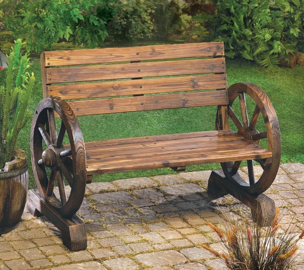 Rustic Wagon Wheel Bench Burnt Fir Wood 2 Seater Patio