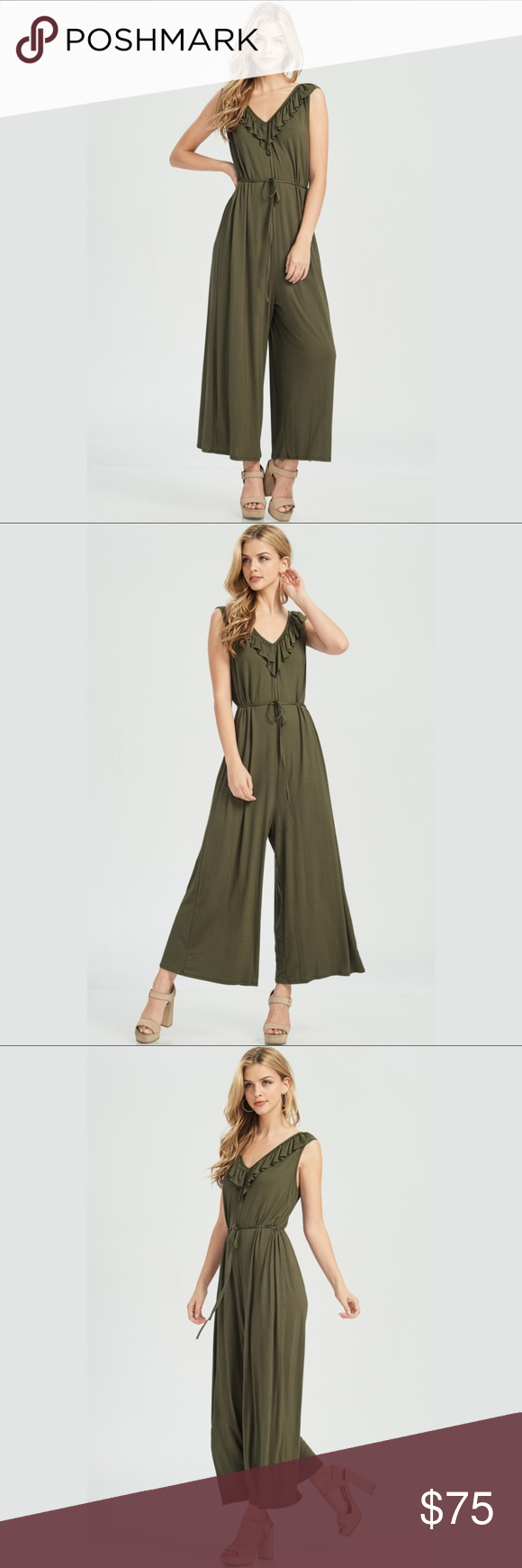 7448167575e5 Ruffle Cross Back Jumpsuit - Olive  blushonme at Poshmark Featuring a super  soft and very