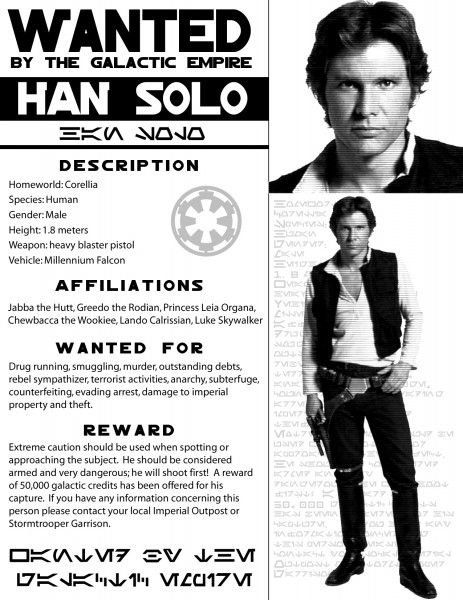 1000 images about Star Wars wanted posters and silhouette targets – Wanted Criminal Poster