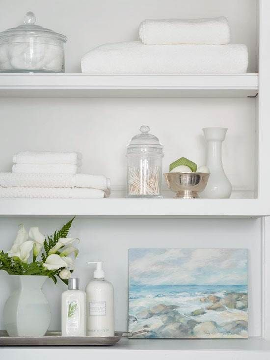 Perfect bathroom open shelving accessorizing. | Bathroom ...