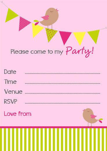 Free Party Invitation Templates  Birdies  Bunting  Invitations