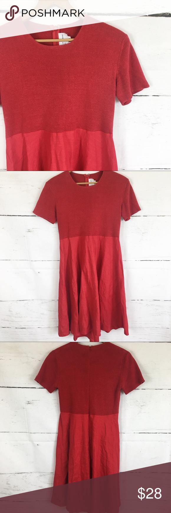 b72c3b4b16 Adrienne Vittadini Red Cotton Linen Dress