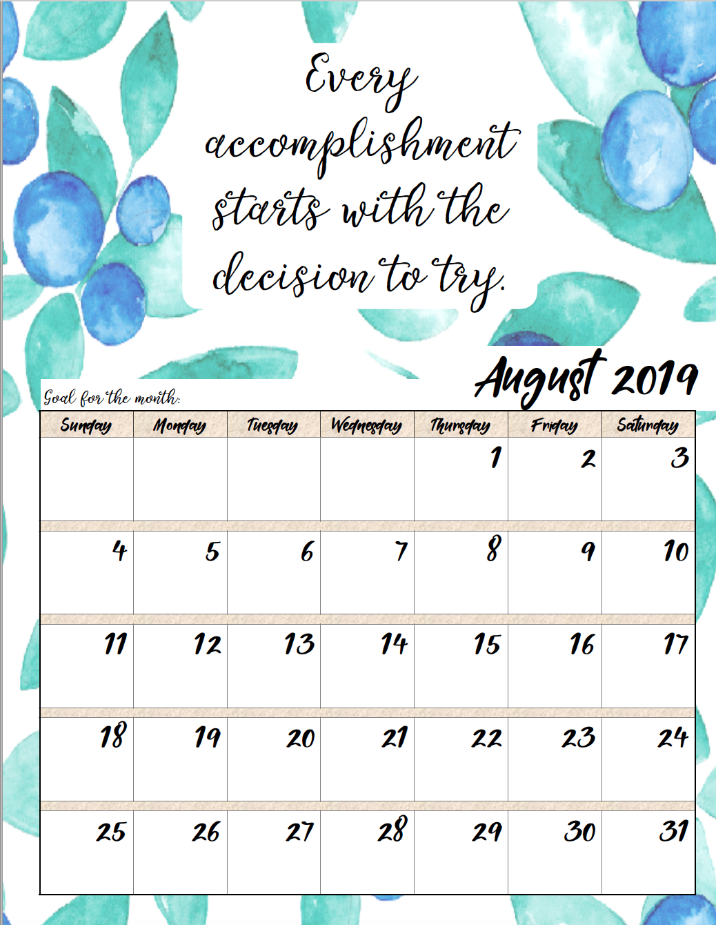 Free Printable 2019 Monthly Motivational Calendars Planner Journal